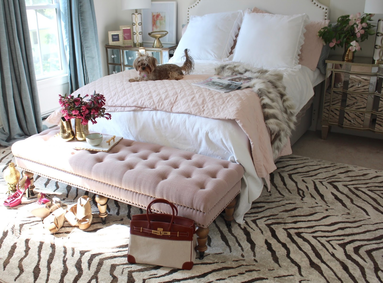 Room Reveal Pink And Gold Feminine Bedroom My Guest Room