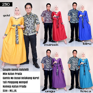 BAJU BATIK COUPLE MODEL GAMIS KATUN PRADA MIX BALOTELLY TERBARU T2310