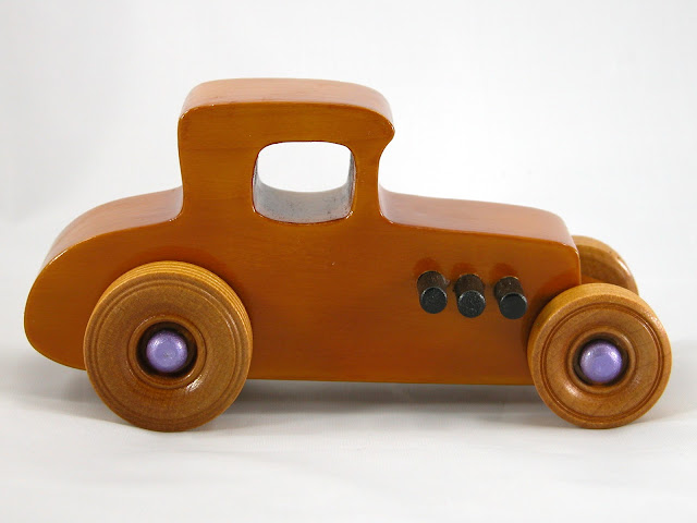 Right Side -  Wooden Toy Car - Hot Rod Freaky Ford - 27 Coupe - Pine - Amber Shellac - Metallic Purple Hubs