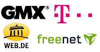 Logos diverses Freemailanbieter