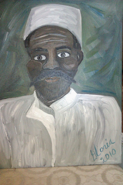 Nigerien man in bubu ethnic painting by Gloria Poole; ethnic series; yr 2010