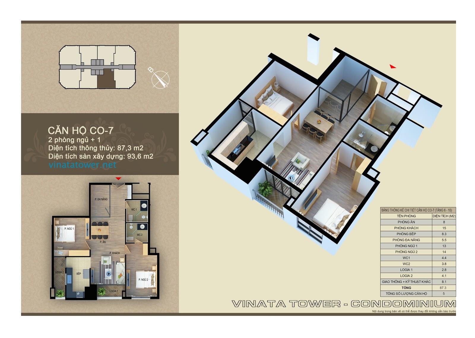 Thiết kế chi tiết căn 07 chung cư Vinata Towers: 87,3m2, 2PN, 1 đa năng, 2VS