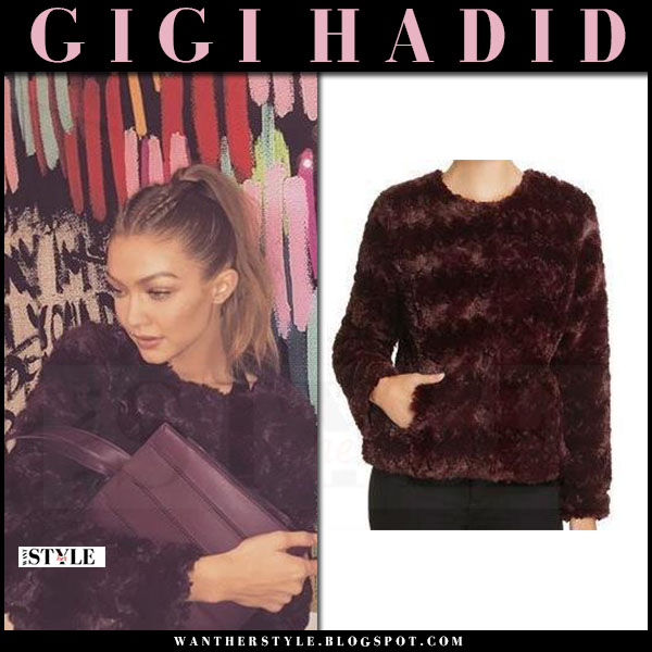 Gigi Hadid in burgundy faux fur jacket sanctuary and purple max mara bag what she wore