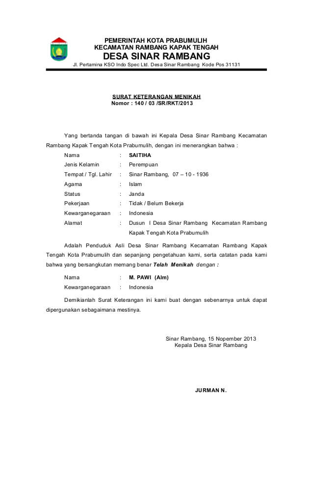 Contoh Surat Pernyataan Nikah Siri - Assalam Print
