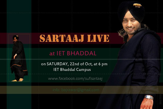 Sartaaj Live At IET Bhaddal On Saturday, 22nd Of Oct