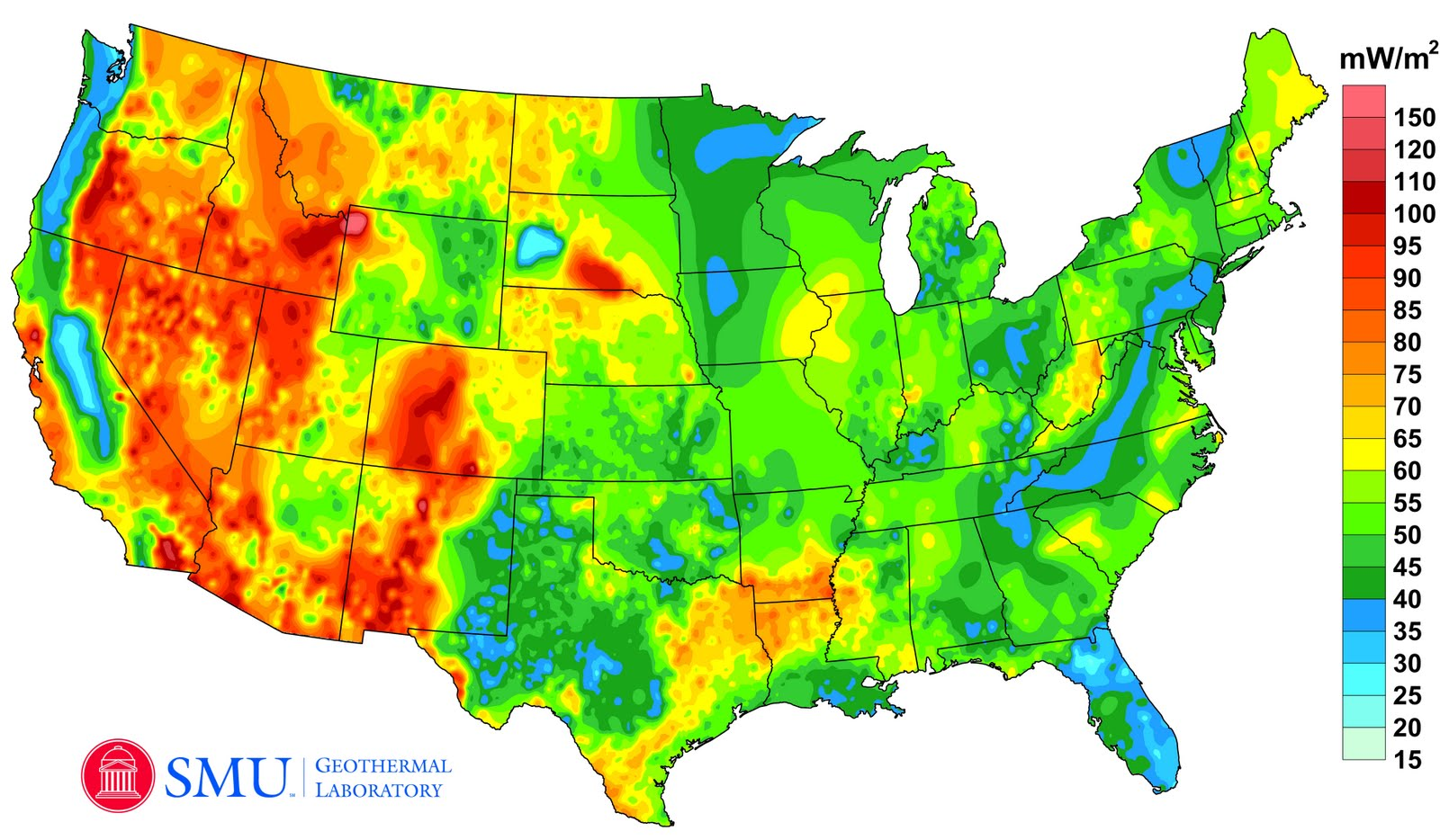 Google Green Blog A New Geothermal Map Of The United States - A map of the united state