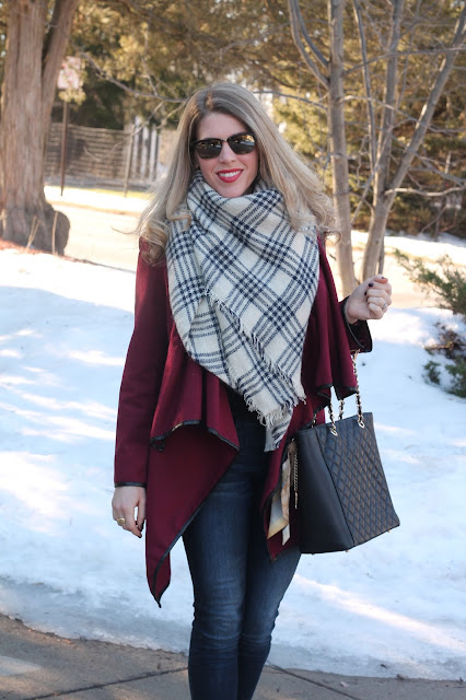 burgundy jacket, black and white blanket scarf, jeans, ankle strap heels, greg michaels tote