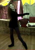 Ballerina Therese de la Fontaine in a pose tendue.