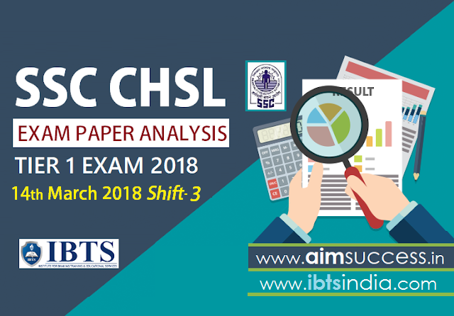 SSC CHSL Tier-I Exam Analysis 14th March 2018 Shift - 3