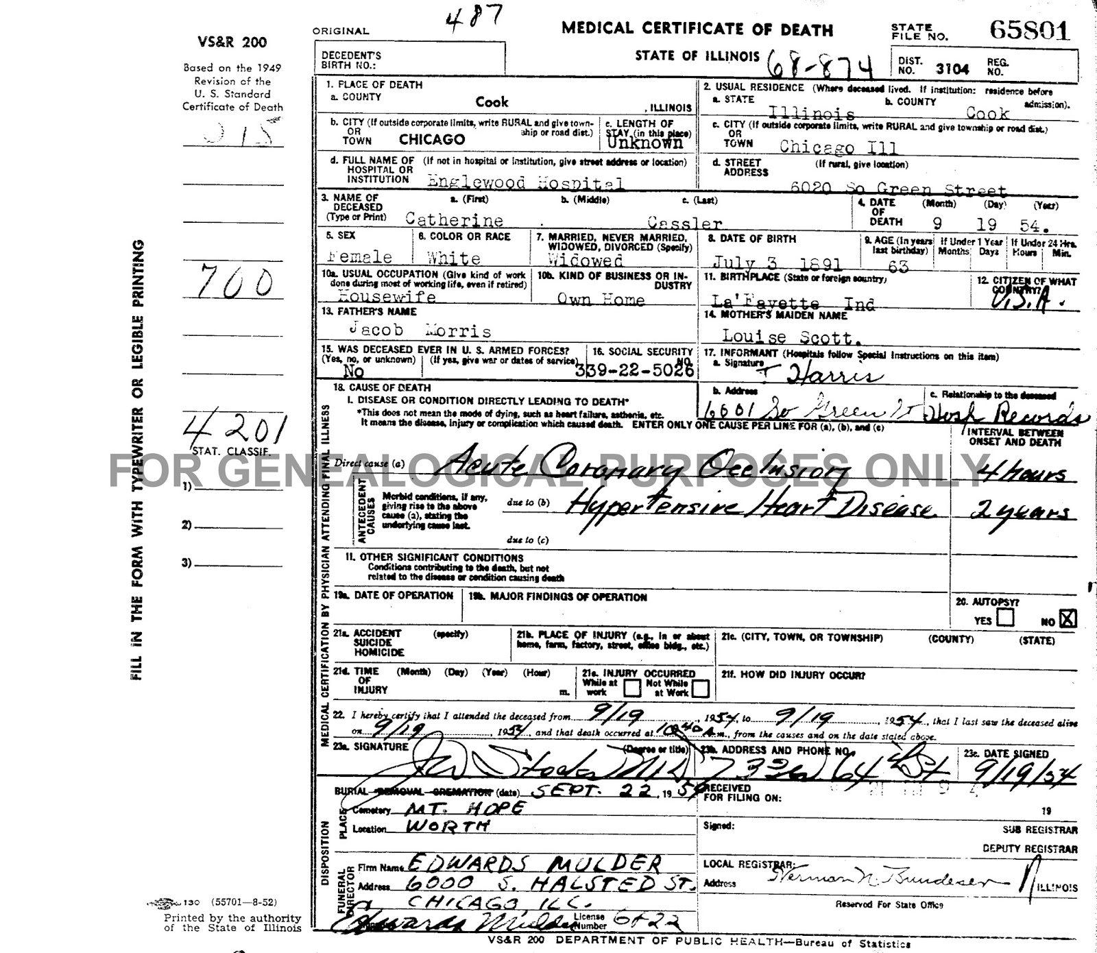 Porter countys past an amateur historians perspective june 2016 state of illinois department of public health medical certificate of death issued for catherine morris cassler filed september 24 1957 1betcityfo Image collections