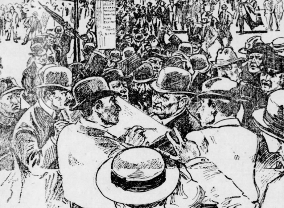 St. Louis Post Dispatch: Illustration of Commotion at Delmar Race Track Betting Ring, 18 June 1905