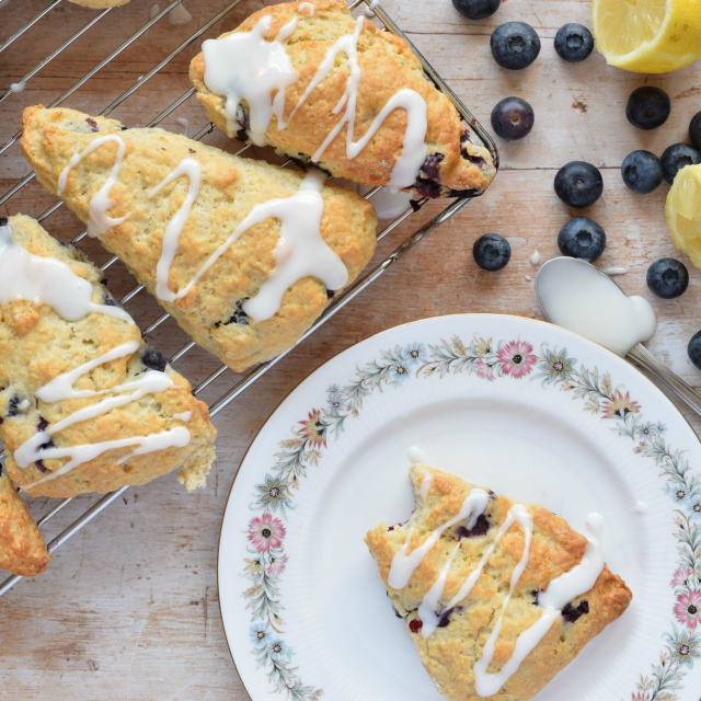 American Style Blueberry Scones with a Lemon Glaze