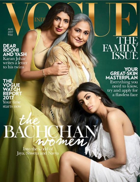 Navya, Shweta and Jaya Bachchan On The Cover of Vogue Magazine India August 2017