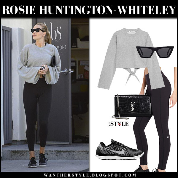 Rosie Huntington-Whiteley in grey cropped sweatshirt alexander wang and black leggings splits59 workout casual style january 14