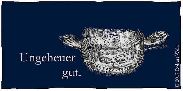 Satire Krimi Seeungeheuer begeistert Hör-Geschichte Audio Unterhaltung Cartoon Collage