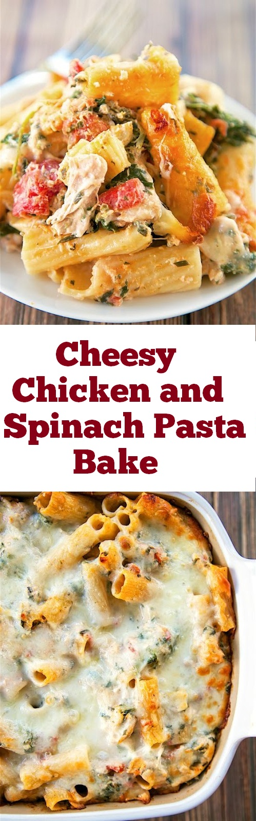This Cheesy Chicken and Spinach Pasta Bake is creamy and simple to make with just a few ingredients and one pan for easy clean up. It's the perfect weeknight dinner! cheesy chicken and rice. #cheesy #chicken #cheesychicken #casserole #pasta #dinner #weeknight #maindish #easydinner #quickandeasy