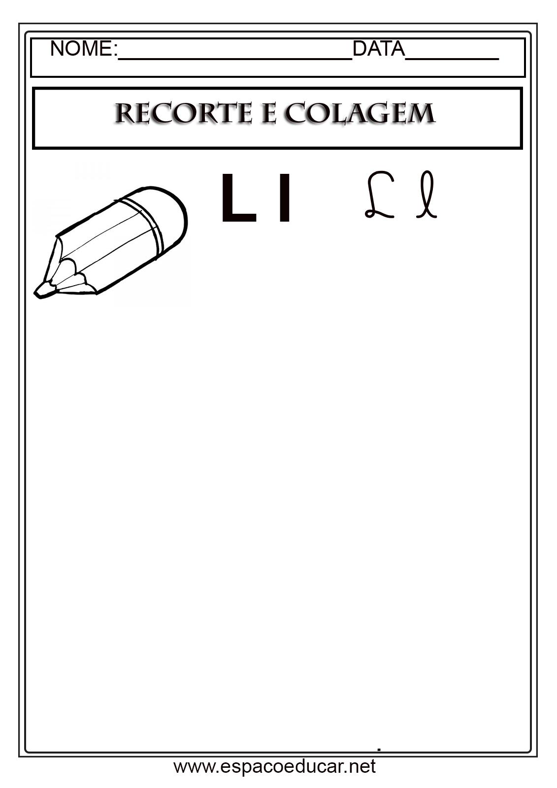 Atividades De Alfabetizacao Recorte E Colagem Com As Letras Do