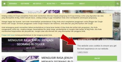 Cara Memasang Notifikasi Cookie pada Blogger
