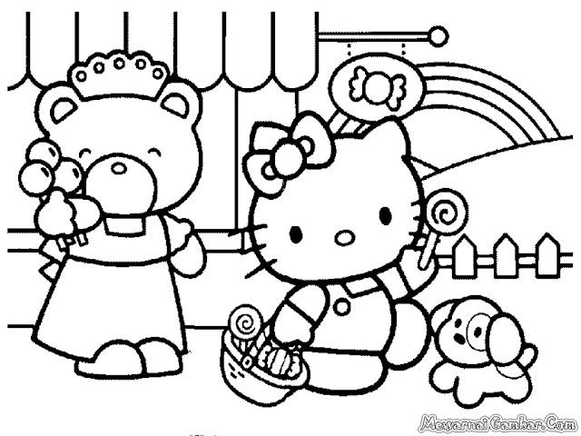 Gambar Sketsa Hello Kitty Untuk Diwarnai Anak-Anak