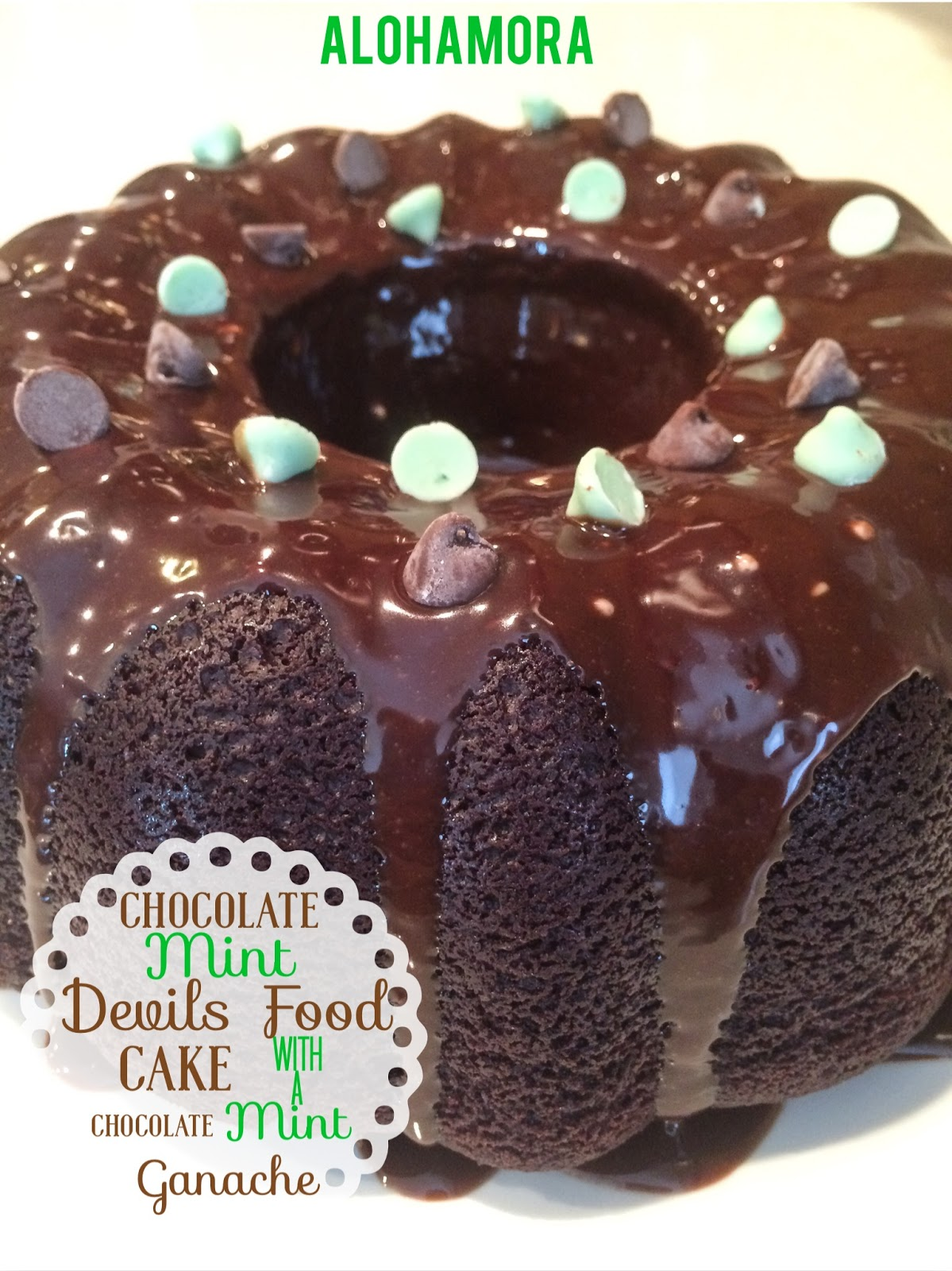 Chocolate Mint Devil's Food Cake with a Chocolate MInt Ganache in a bundt pan.  Easy to make, moist, deliciously chocolately, and looks fabulous straight out ot the bundt pan.  Drizzle the chocolate mint ganache over the top and it is too die for, or better than... cake.  Alohamora Open a Book http://www.alohamoraopenabook.blogspot.com/