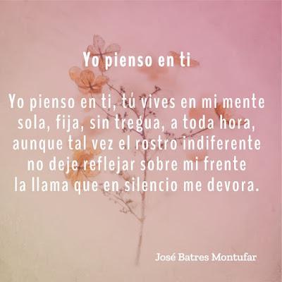 """Poema """"Yo pienso en ti"""" de José Batres Montufar"""