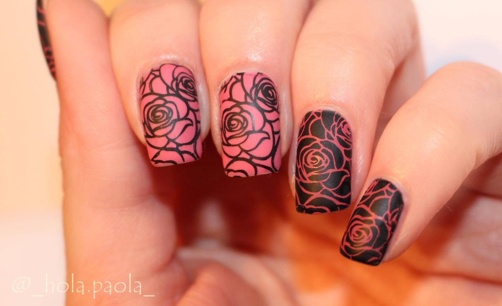 Jak stemplować na lakierze hybrydowym stempel do hybryd semilac lakier zdobienie proste zdobienia róże pink rose black diamond różowy i czarny jak stemplować paznokcie