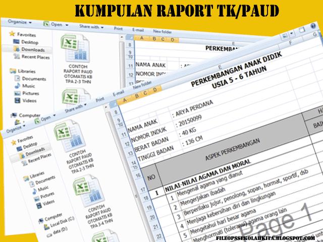 Download File Guru Contoh Raport PAUD TK KB TPA Menggunakan Microsoft Excel