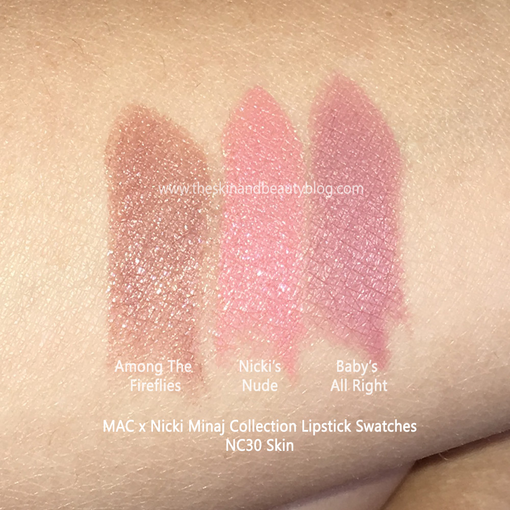 MAC Among The Fireflies Lipstick, MAC Nicki's Nude Lipstick, MAC Baby's All Right Lipstick Swatches on NC30 Skin