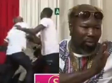 Watch Ghanaian boxer Ayitey Powers beat comedian Baba Spirit on Live TV during interview
