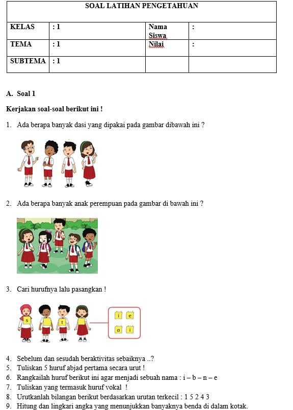 Soal Kurikulum 2013 Revisi Kelas 1 Semester 1 Plus Kunci Jawaban Data Sekolah
