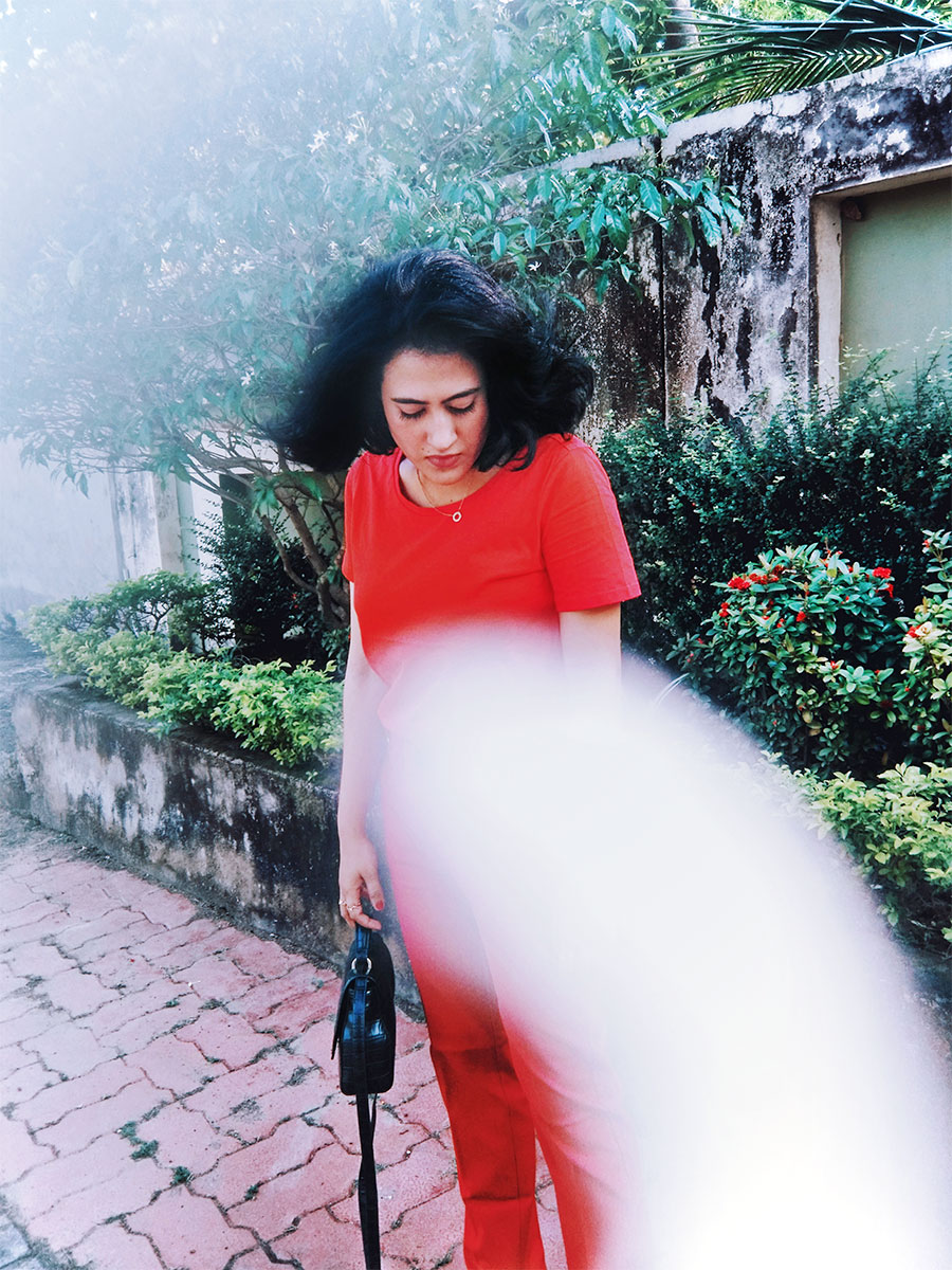 Next Basic Red Tee, ASOS Highwaist Pants ,Zara Red Patent Block Heel,Zara Black Velvet Mini Bag  ,Indianfashionblogger