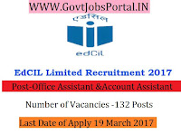Educational Consultants India Limited Recruitment 2017- 132 Office Assistant, Account Assistant