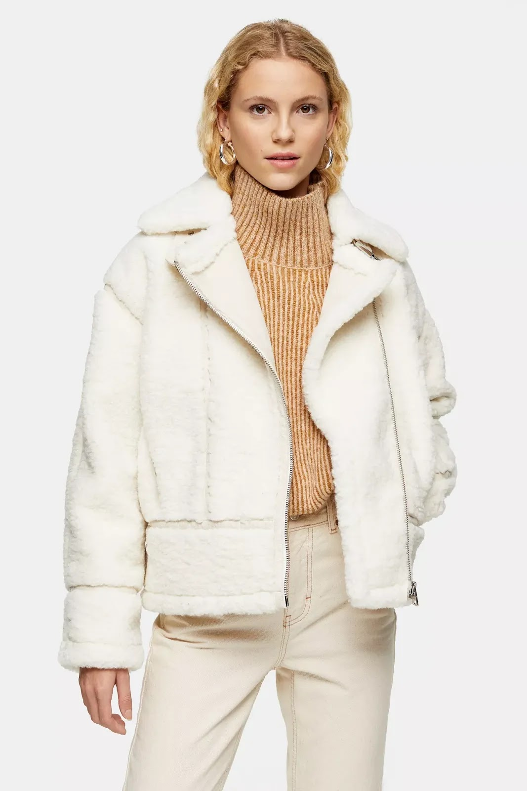 Cream Teddy Biker Jacket