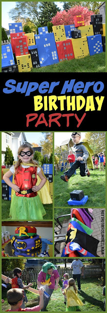 super hero birthday party theme with super hero games, birthday party activities, and more