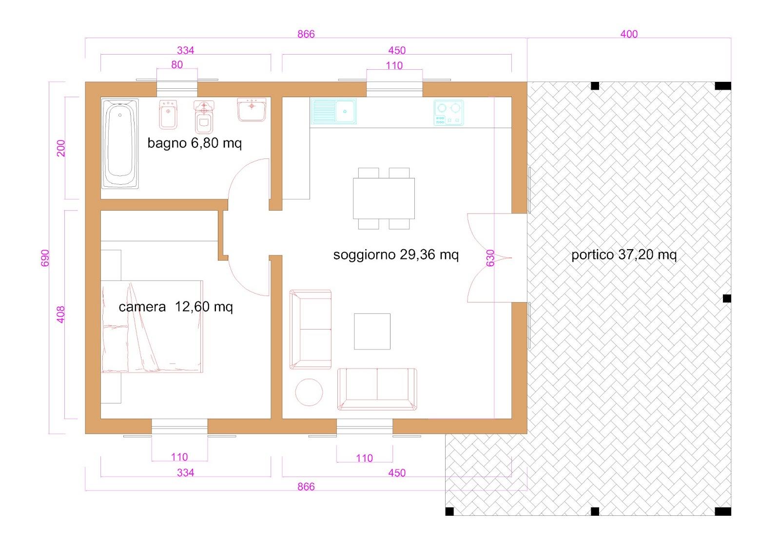 Progetti di case in legno casa 60 mq portico 37 mq for Casa moderna 60 mq