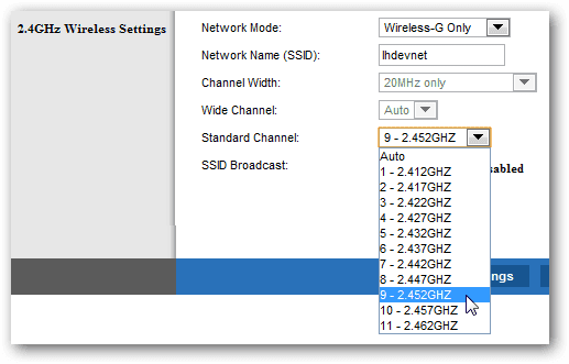 ajustes de canal wifi