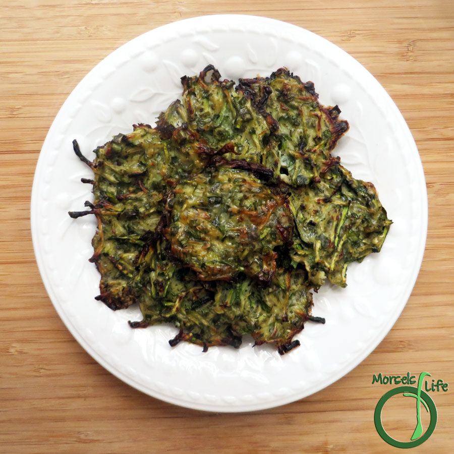 Morsels of Life - Zucchini Fritters - Super easy zucchini, flavored with green onions and cilantro, then pan fried until a golden brown and crispy crust forms.