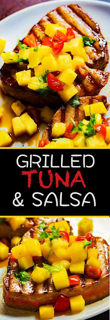 GRILLED TUNA STEAK WITH PINEAPPLE SALSA
