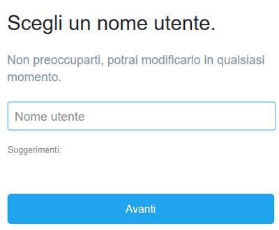 Nome utente twitter