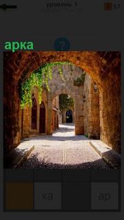 Между домами сделана арка и растут растения сверху