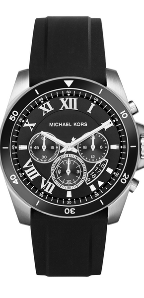 Michael Kors Brecken 44mm Silicone Strap Watch, Black
