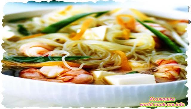 Суп с крахмальной лапшой (фунчоза)