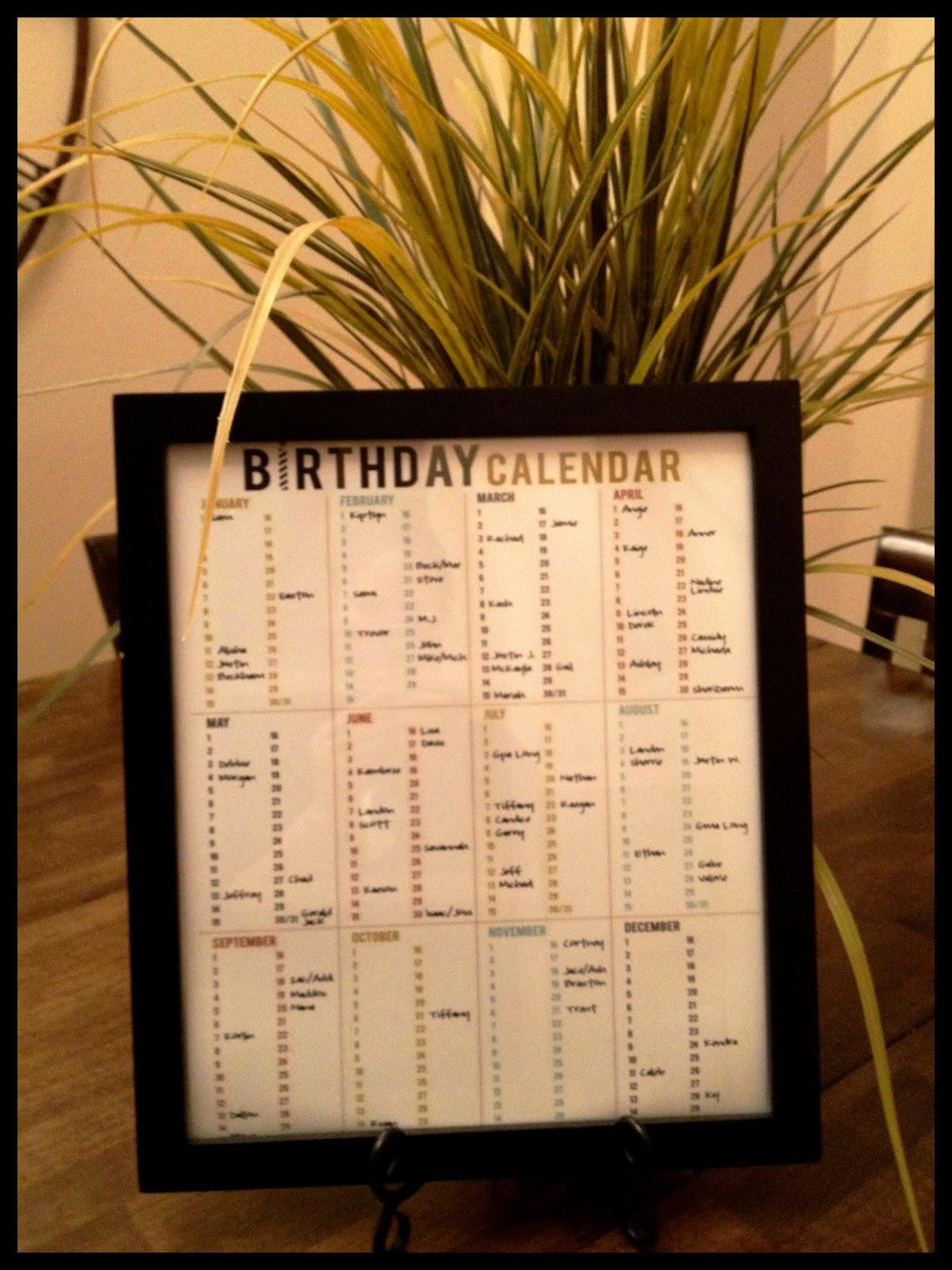 Birthday Calendar Printable Round Up