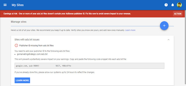 Publisher ID missing from ads.txt files Google Adsense