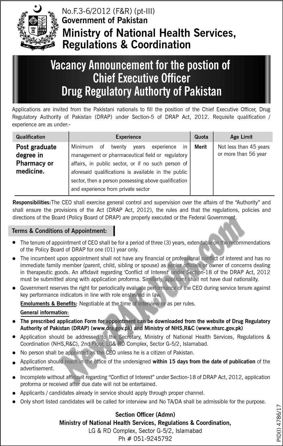 Chief Executive Officer Drug regulatory Authority of Pakistan
