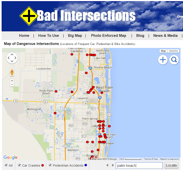 Map of South Florida Most Frequent Car Accident Location Intersections