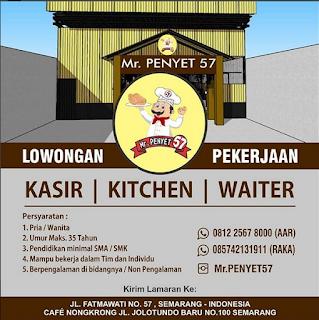 Info Lowongan Kerja Kasir Kitchen Waiter Mr. Penyet Semarang ijazah SMK SMA laki laki perempuan daerah semarang pengalaman dan non pengalaman restoran