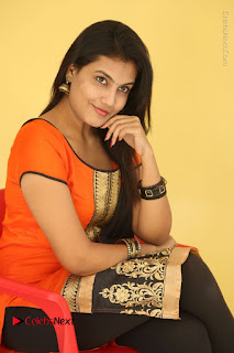Telugu Actress Chandana Stills in Salwar Kameez at Karam Dosa Movie Press Meet  0074.JPG