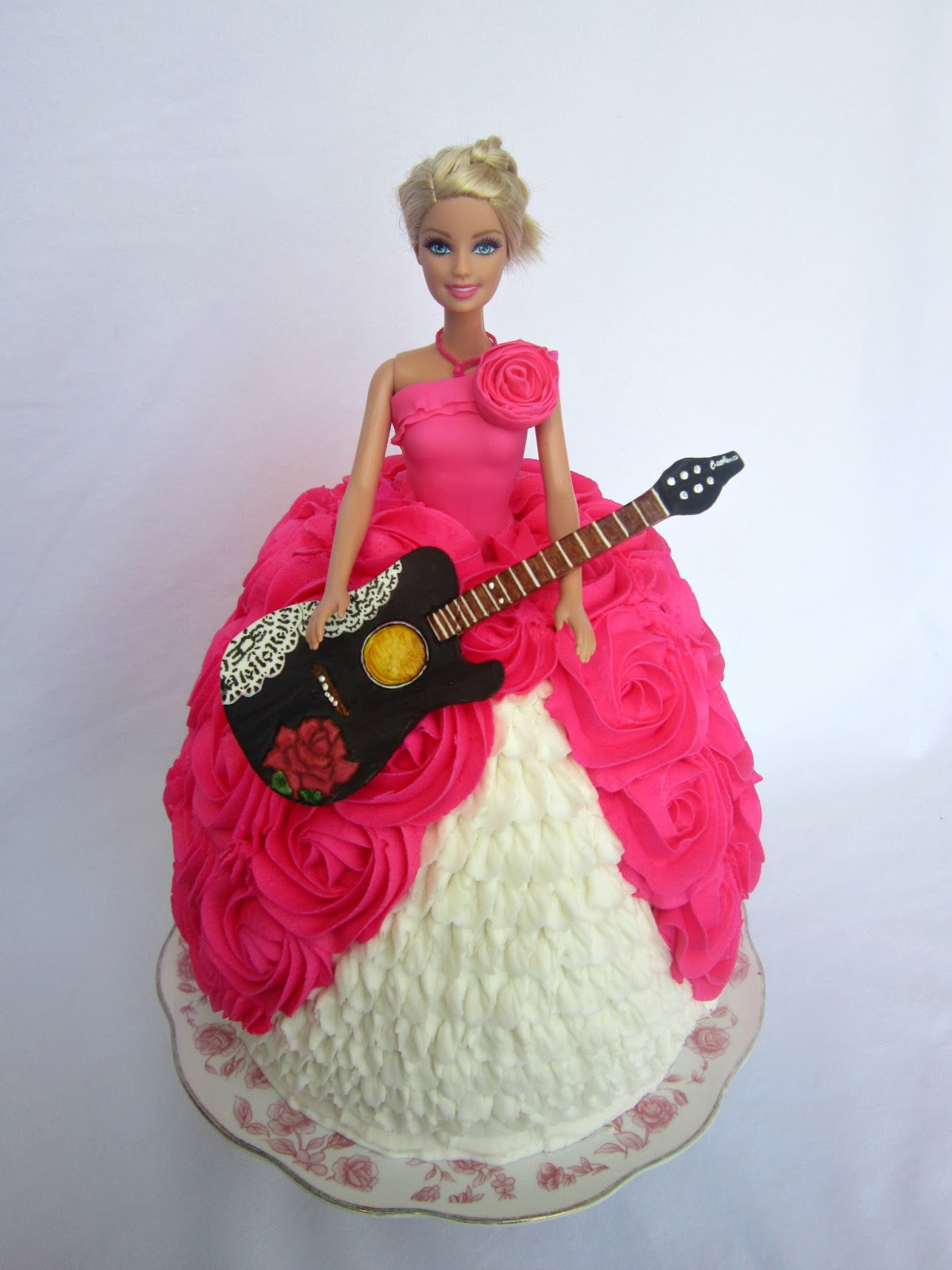 Pink Rose Swirl Barbie Birthday Cake