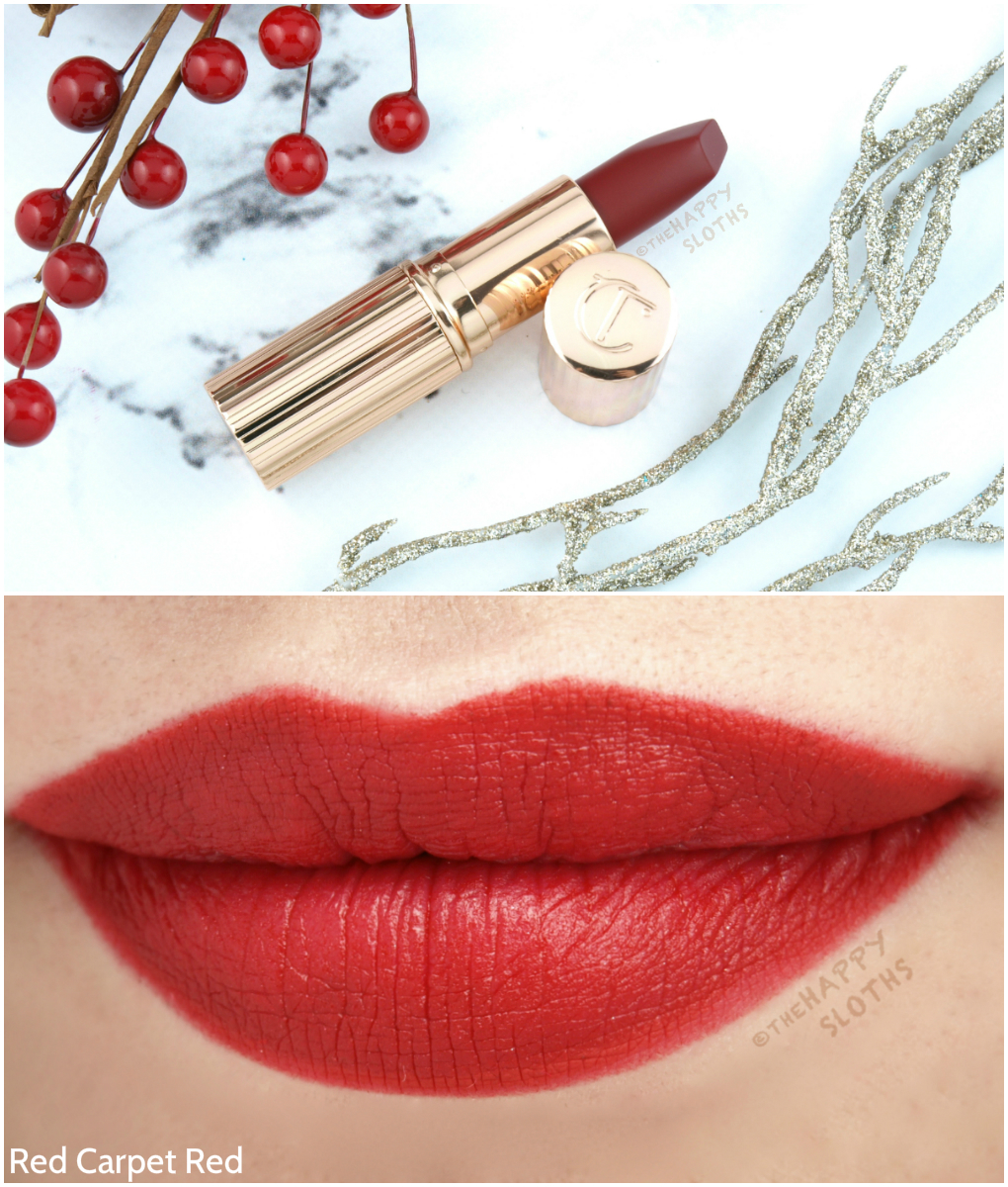 Charlotte Tilbury Matte Revolution Lipstick Red Carpet Red Swatches Review